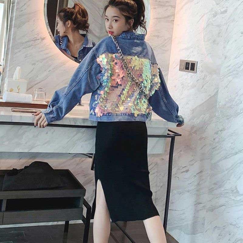 NiceMix 2019 Spring New Womens Vintage Denim Coats Outwear Girls Sequins Long Sleeve Jean Jacket Students Loose Jeans Jackets Ba