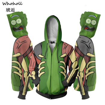 Whoholl Brand 2019 Autumn Unisex Cartoon Rick And Morty 3D Print Sweatshirts Zip Up Hoodies Colorful Tracksuit Hooded Tops S-5XL