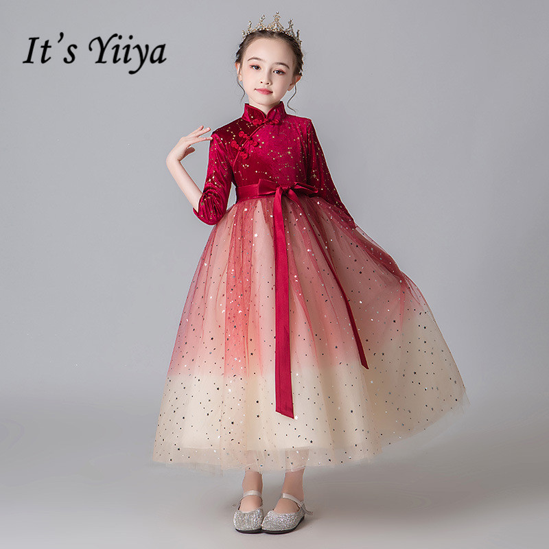 Burgundy Flower Girl Dresses It's Yiiya B044 2020 High Collar Tulle Kids Party Ball Gown Three Quarter Sleeve Girl Pageant Dress