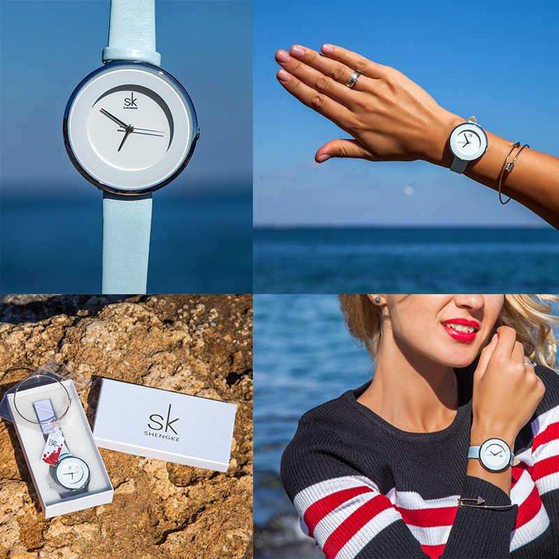 Shengke nova skyblue pulseira de couro fivela relógios femininos 38 mm grande marca superior simples dial quartzo senhoras luxo relógio reloj mujer