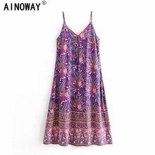 Vintage chic frauen floral print ärmel beach Bohemian maxi kleid Damen v ausschnitt quaste rayon baumwolle Boho kleid vestidos