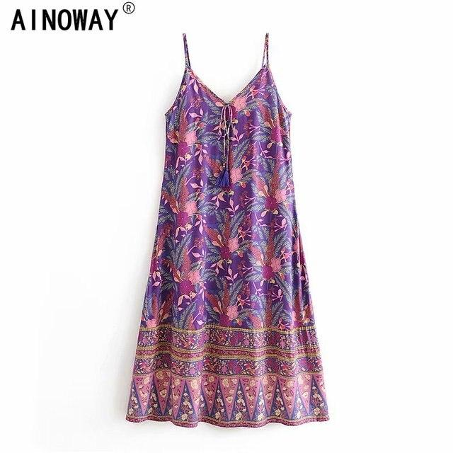 Vintage chic kadınlar çiçek baskı kolsuz plaj Bohemian maxi elbise bayanlar v yaka püskül rayon pamuk Boho elbise vestidos