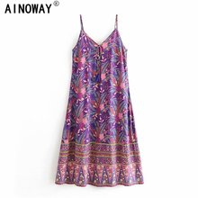 Đầm Sang Trọng Nữ Họa Tiết Áo Đi Biển Bohemia Đầm Maxi Nữ Cổ Chữ V Tua Rua Rayon Cotton Boho Đầm Vestidos