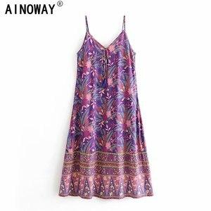 Image 1 - Đầm Sang Trọng Nữ Họa Tiết Áo Đi Biển Bohemia Đầm Maxi Nữ Cổ Chữ V Tua Rua Rayon Cotton Boho Đầm Vestidos
