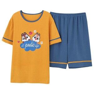 Image 4 - Nieuwe Zomer Cartoon Liefhebbers Leuke Pyjama Vrouwen Mannen Paar Korte Mouw Pyjama Sets Casual Kleding Nachtkleding Vrouwen Nachthemd