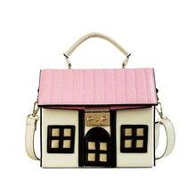 купить Women Faux Leather House Crossbody Shaped Personality Messenger Bags Shoulder Bag For Ladies Girl Casual Mini PU Handbag по цене 1231.52 рублей