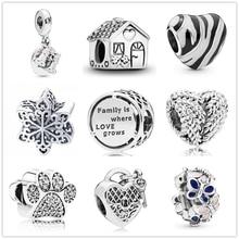 Новинка оригинальная семья где Любовь Растет бисера fit Pandora Подвески Серебро 925 бусины браслет для женщин diy модные ювелирные изделия