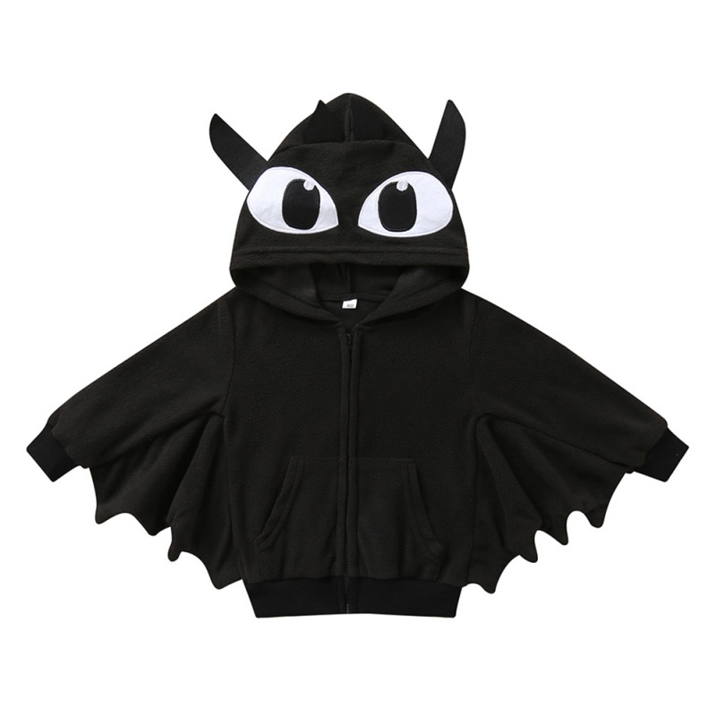 Baby Halloween Clothing Autumn Cartoon Print Bat Hooded Jacket Boy Girl Cotton Cosplay Clothes 1