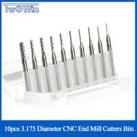 10 pièces 3.175 Diamètre CNC Fraise Mini PCB De Routeur De Carbure Kit 0.8-3.175mm Pour Outils De Fraisage