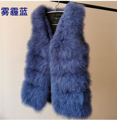 Вязаный жилет из натурального меха страуса, роскошный Фабричный OEM заказной меховой жилет из турецких перьев WSR115 - Цвет: wublue