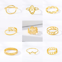 2019 Minimalist Gold Ring Geometry Stainless Steel Adjustable Woman Mens Birthday Gift