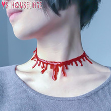 Decorazione di Halloween di Orrore Sangue Goccia Collana Fake Blood Vampire Fancy Joker Choker Collane del Costume Del Partito di Accessori(China)