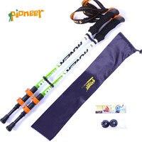 2pcs Ultralight 194G Adjustable Camping Hiking Walking Trekking Stick Alpenstock Carbon Fiber Climbing Skiing Trekking Pole
