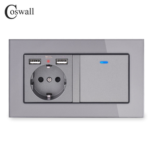 Image 2 - COSWALL Russia Spain EU Standard Wall Socket 2 USB Charge Port + 1 Gang 1 Way On / Off Light Switch LED Indicator Glass Panel
