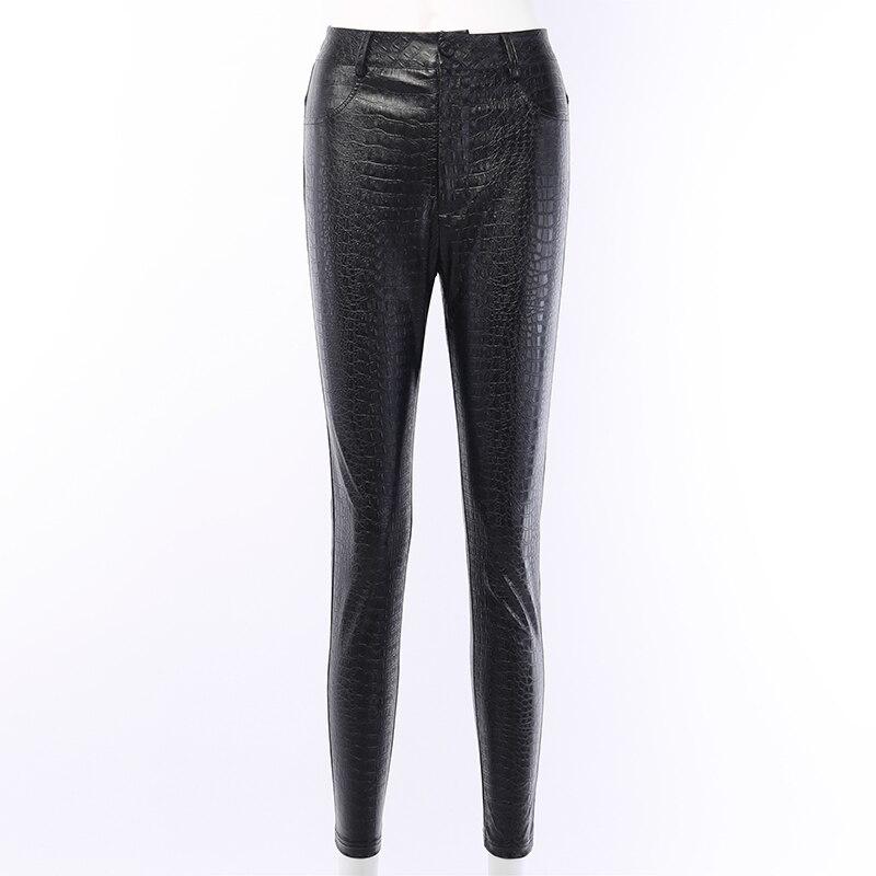 InstaHot Black High Waist Pencil Faux Leather Pants Women Casual Elegant Carving Print Ankle Length Pants Streetwear Trousers 59