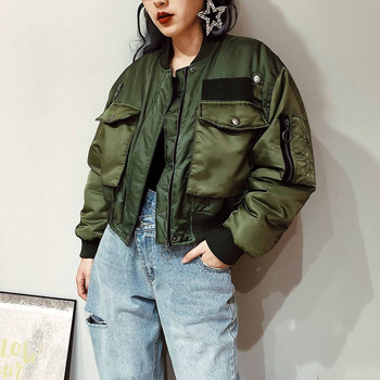 2020 Autumn Winter Women Fashion Bomber Jackets Coat Solid Zipper Short Baseball Outwear Female Tops Casual Loose Overcoats 2