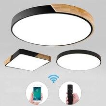 울트라 얇은 LED 5cm 천장 조명 현대 천장 조명 표면 마운트 플러시 패널 원격 제어 조명 레스토랑 로비 침실