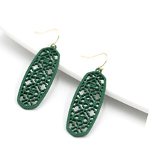Painted Small Long Oval Drop Earrings Lacquered Hollowed Mesh Filigree Dangle Earrings For Women Earrings Fashion Jewelry