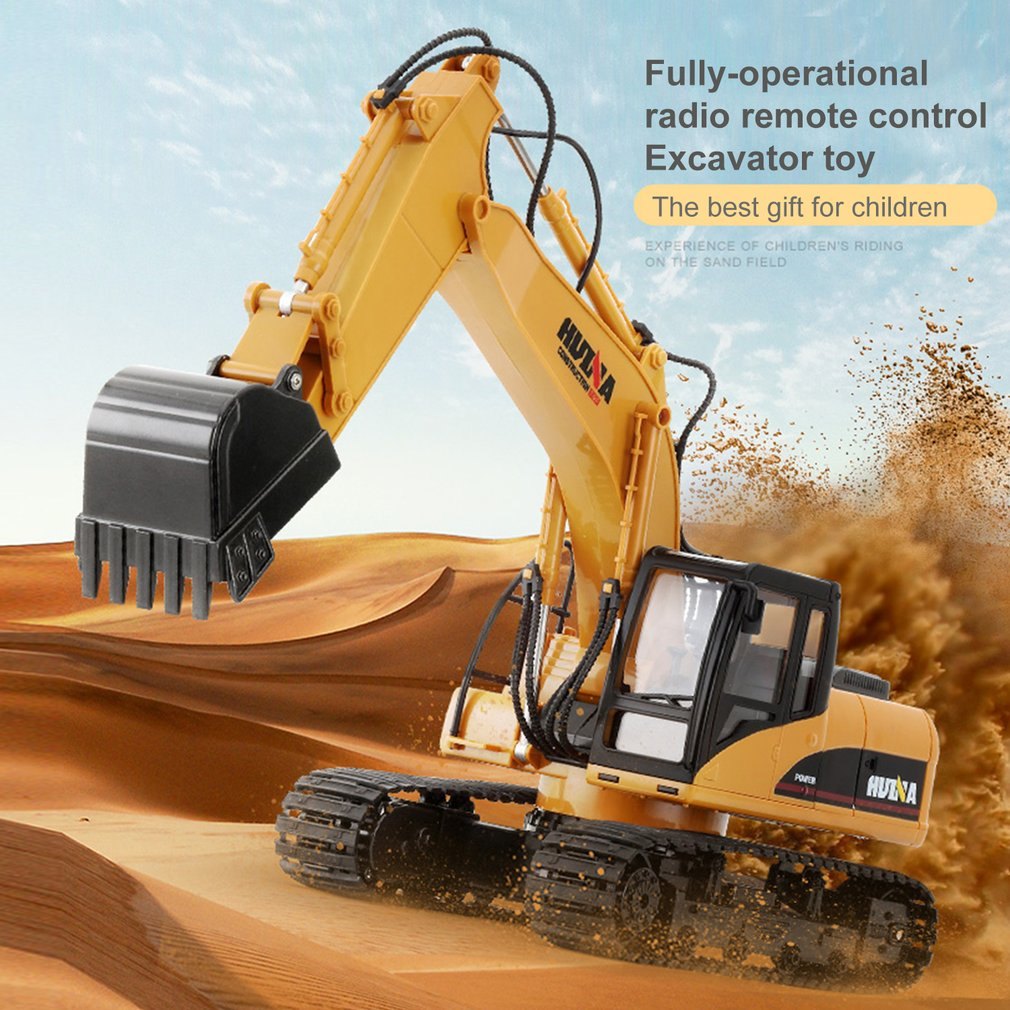 HUINA 1550 <font><b>1/14</b></font> 15CH 680 Degree Rotation Alloy Bucket RC Excavator Construction Vehicle Toy Gift with Cool Sound/Light Effect image