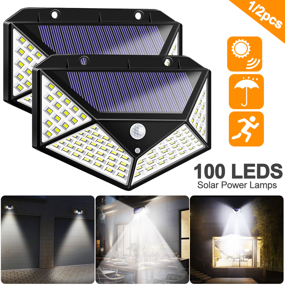 New 100 LED Four-Sided Solar Power Light 3 Modes 270 Degree Angle Motion Sensor Wall Lamp Outdoor Waterproof Yard Garden Lamps