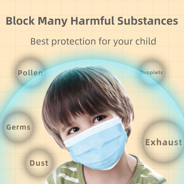 Breathable 3layer Disposable Face Masks For Kids Anti Flu Pollution Dust Soft Breathable Mascarillas Protective Mask Children 1