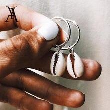 Bohème océan plage naturel Cowrie coquille boucles d'oreilles pour les femmes mode rond cercle géométrique boucles d'oreilles Pendientes coquille bijoux