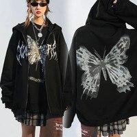 Nuevo Y2k estética mujeres sudaderas con capucha de Hip Hop mariposa imprimir chaqueta de mujer Goth Harajuku Grunge Punk Streetwear abrigo