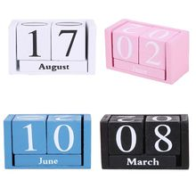 Vintage Wooden Perpetual Calendar Eternal Blocks Month Date Display Desktop Accessories Photography Props Home Office Decoration