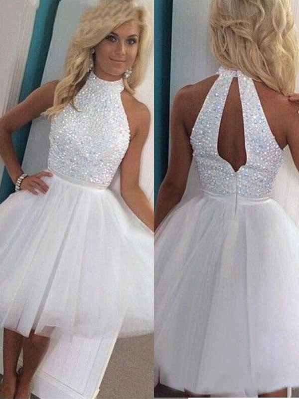 2020 Shinny Sparkle Homecoming Dress A-Line/Princess Sleeveless Halter Beading Tulle Short/Mini Dresses For Party