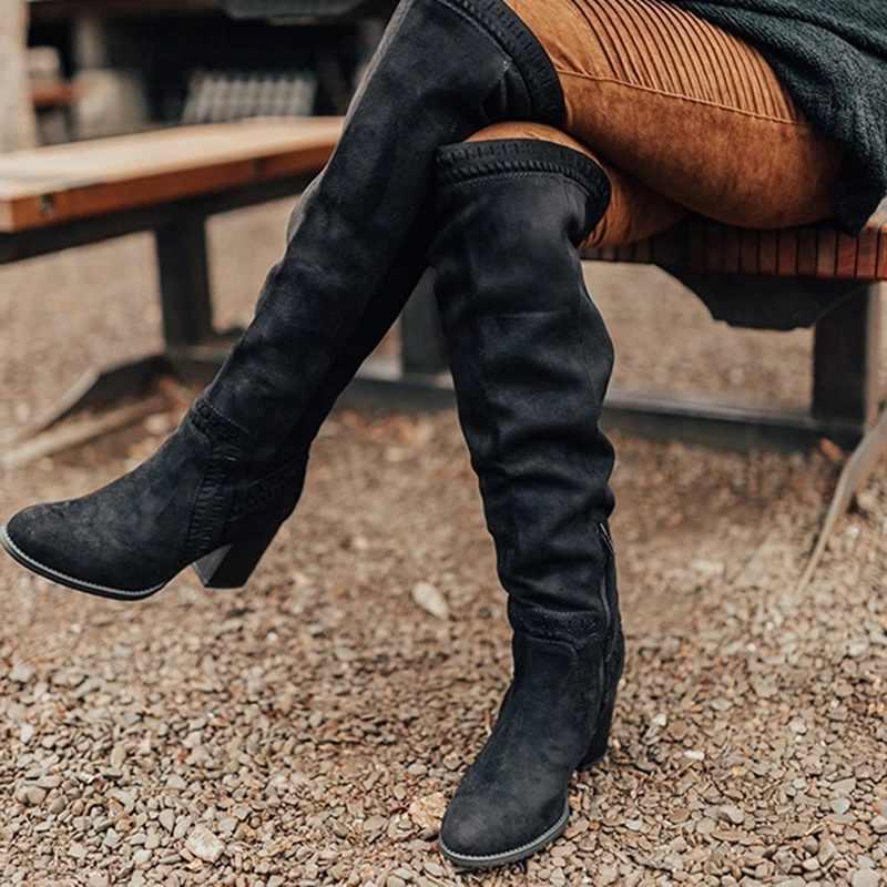PUIMENTIUA ฤดูหนาว Warm Fur เข่ารองเท้าส้นสูงผู้หญิงรองเท้าส้นสูงสุภาพสตรียาวสีดำซิปหนังนุ่มรองเท้าผู้หญิง