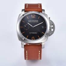 42mm Men's Watches Waterproof Luminous Calendar Stainless Steel Leather Black Di