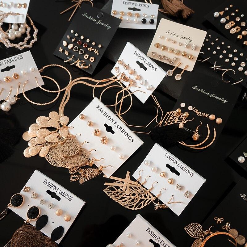 12 Pairs/Set Women's Earrings Set Stud Earrings For Women Bohemian Fashion Jewelry Vintage Geometric Crystal Pearl Earrings 2020