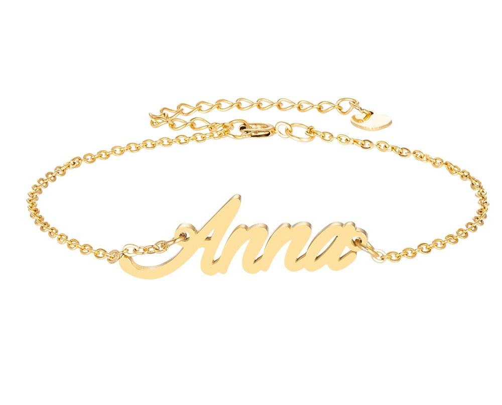 Анна имя браслет для женщин, ювелирные изделия для девушек, из нержавеющей стали, покрытой 18k позолоченный кулон-табличка с именем Femme Mother, по...
