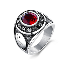Retro six-word mantra ring of domineering titanium steel ring tide male national wind yin and yang gossip ring jewelry VR632