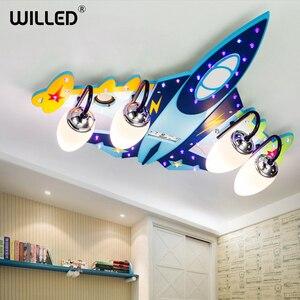 Потолочная лампа с управлением самолетами, мультяшная детская подсветка для дома, для семьи, гостиной, спальни, декорации, bluetooth, музыкальна...