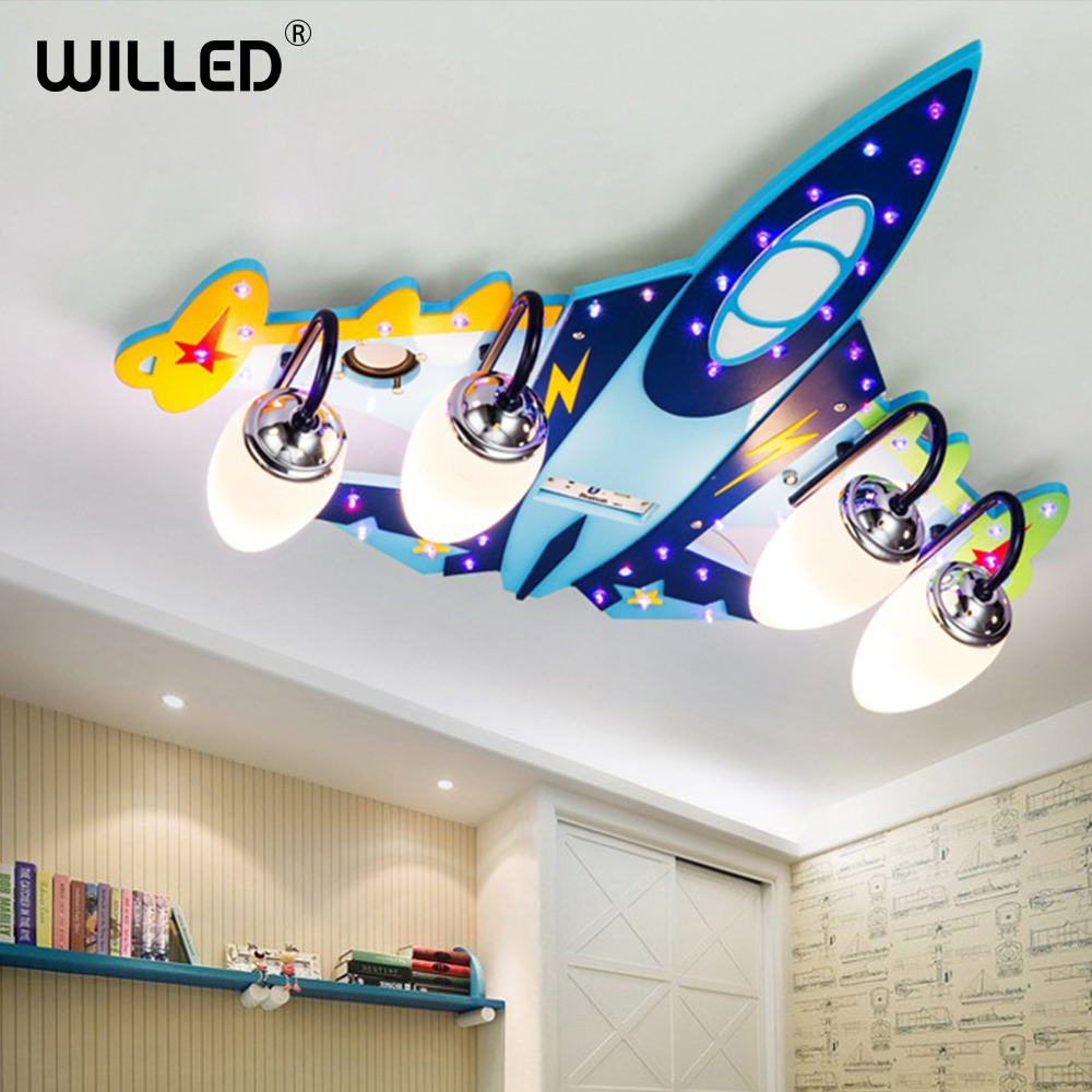Aircraft ceiling lampremote control cartoon children lights indoor family living room bedroom decorations bluetooth music lamp image