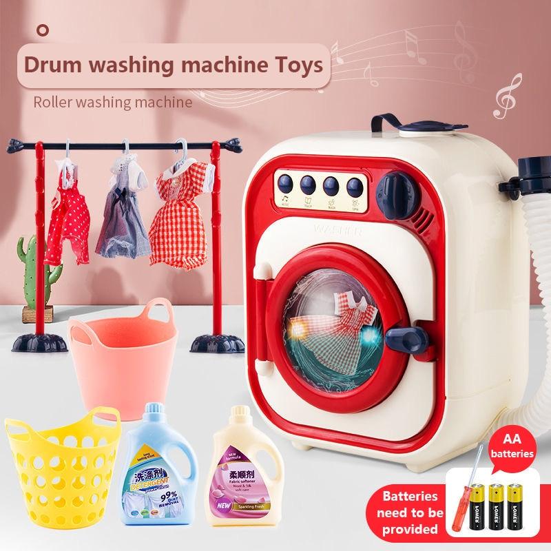 Children Washing Machine Toy Set Pretend Home Cleaning Simulation Washing Machine Mini Drum Rotate Kinetic Energy with Water