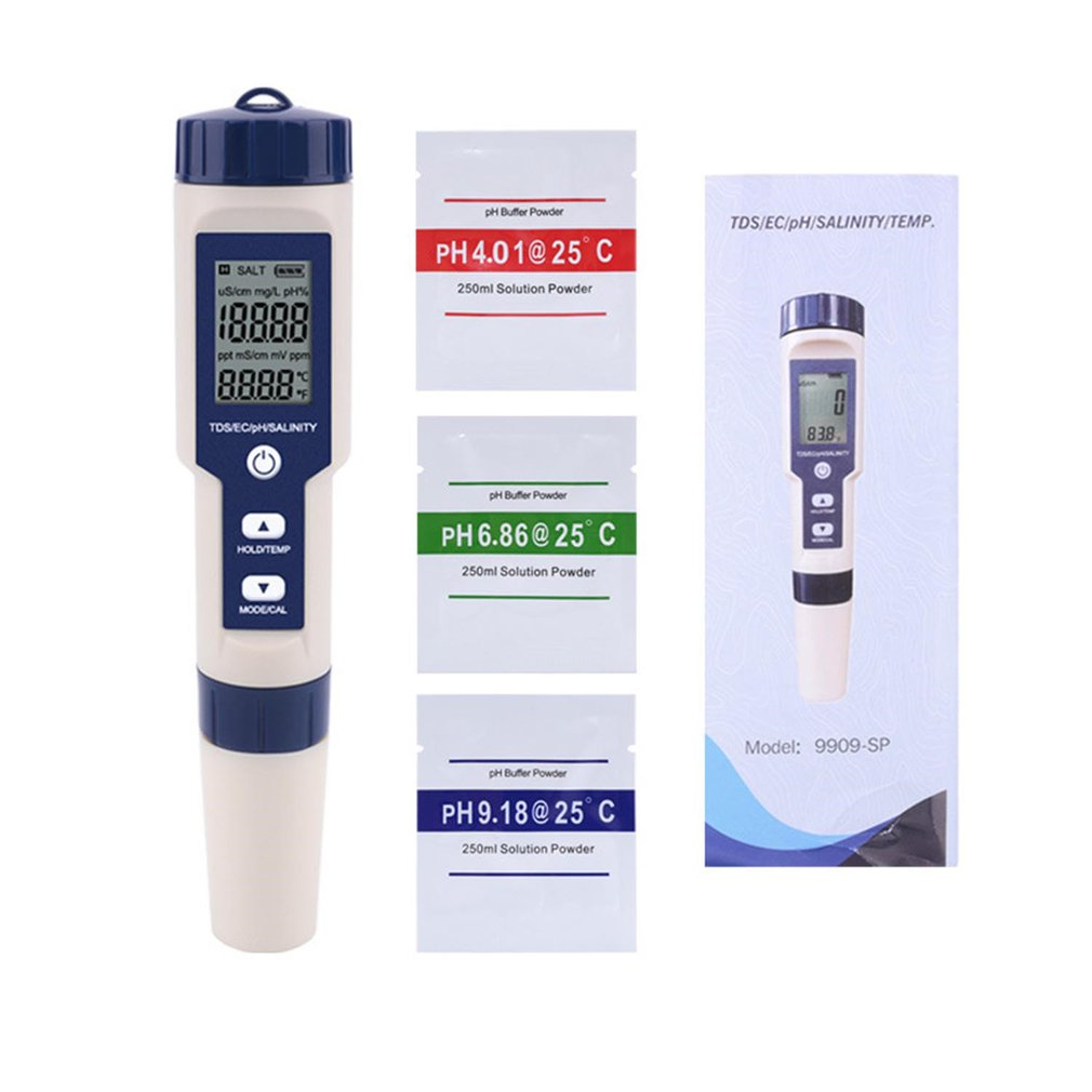 5 In 1 TDS/EC/PH/Salinity/Temperature Meter Digital Water Quality Monitor Tester For Pools Drinking Water Aquariums