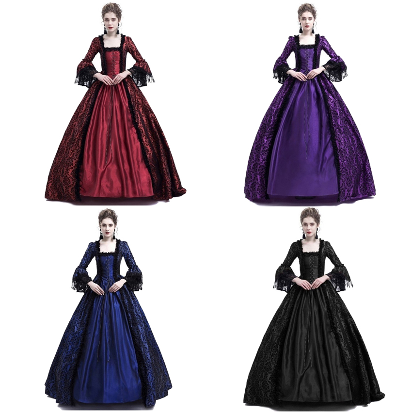 Adult Woman Palace Court Princess Dress Thin Elegant Ball Gown Square Collar Lace Halloween Costumes Renaissance Medieval Dress