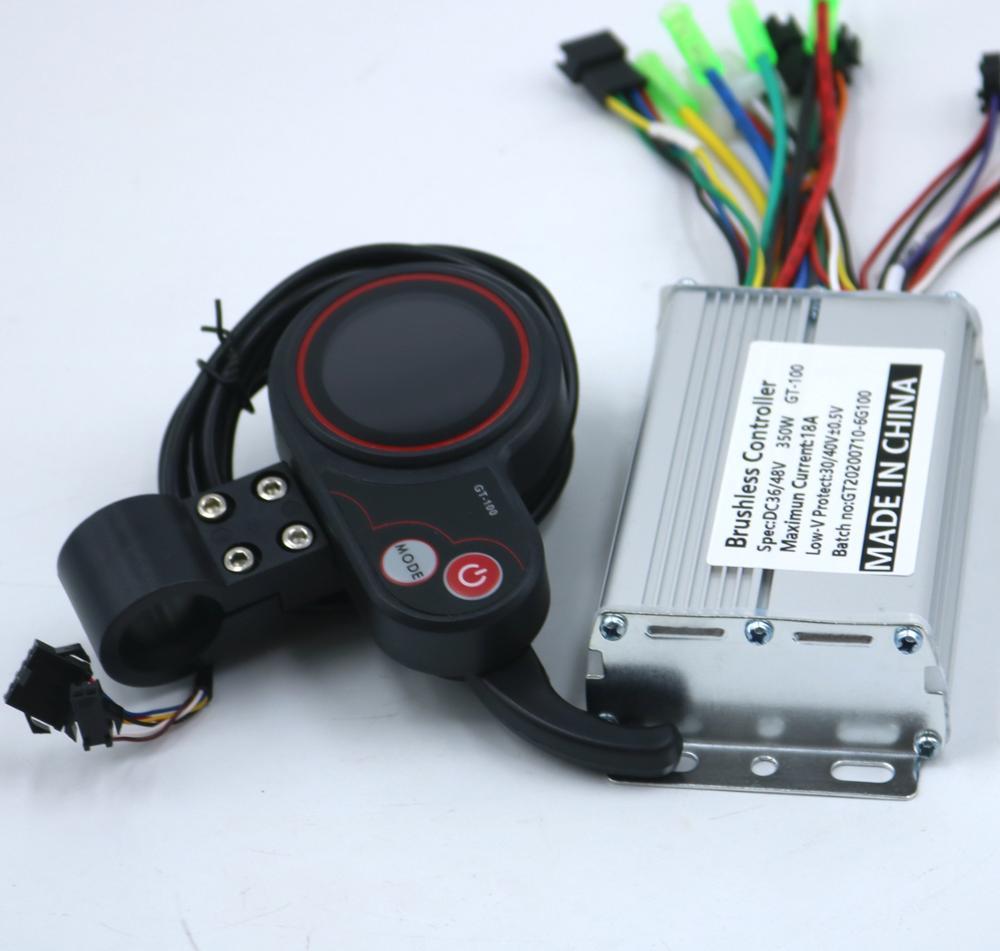 GREENTIME 36V/48V 350W BLDC 전기 스쿠터 컨트롤러 전자 자전거 브러시리스 속도 드라이버 및 GT-100 LCD 디스플레이 한 세트