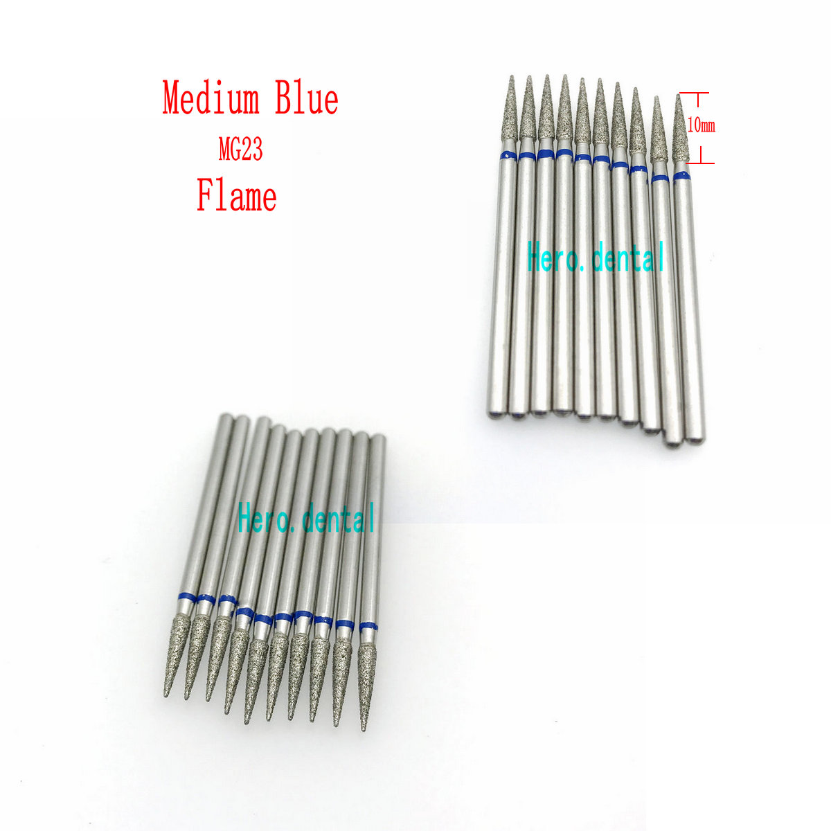 10pcs 2.35mm Dental Shank Diamond Grinding Bur Drill Bits For Dental Grinding Flame/Taper/Pearl Shape Dental Polishing Burs