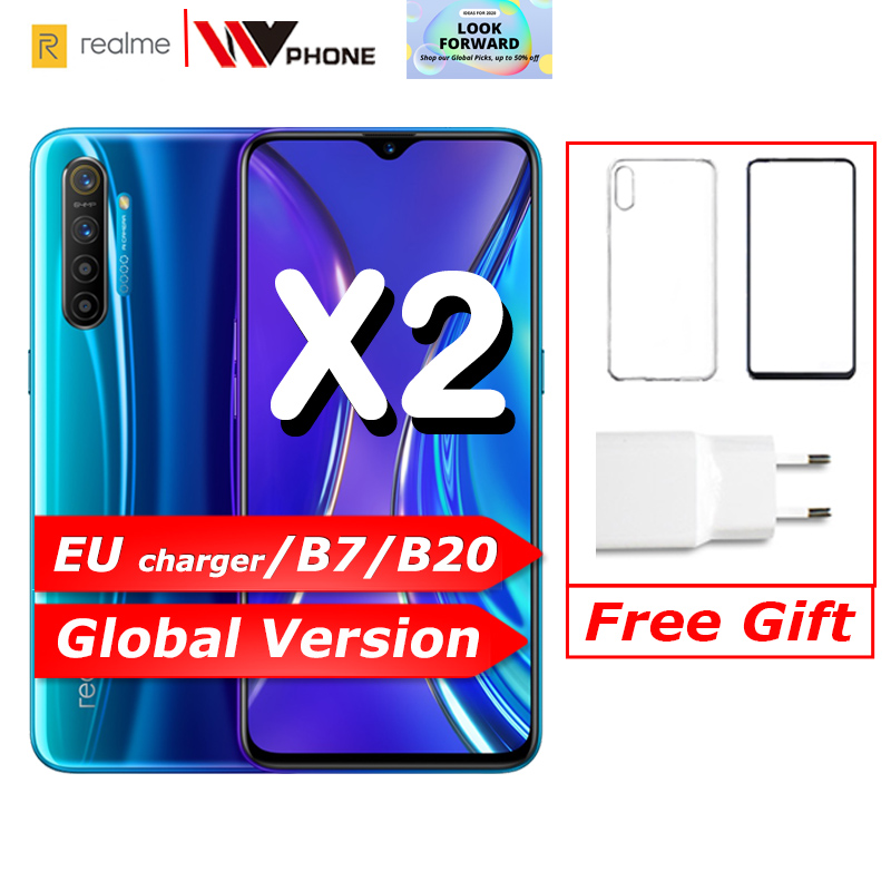 Realme X2 Global Version Moblie Phone 6.4'' Full Screen Snapdragon 730G 64MP Camera NFC 30W Fast Charger OPPO Cellphone VOOC