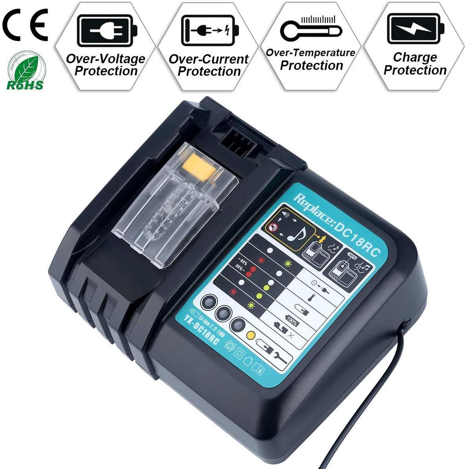 DC18RCt Li ion Battery Charger 3A Charging Current for Makita 14.4V 18V BL1830 Bl1430 DC18RC DC18RA Power tool Charge|Chargers| - AliExpress