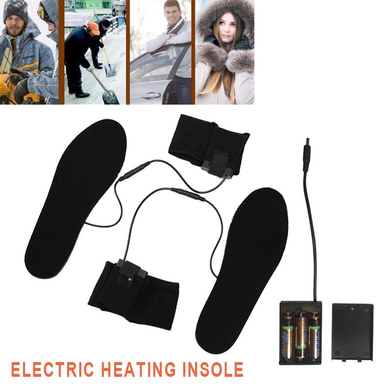 Winter Skiing Heated Shoe Insoles Snow Black Non Woven Keep Warm Battery Electric Foot Heated Sock Heater Insoles Unisex