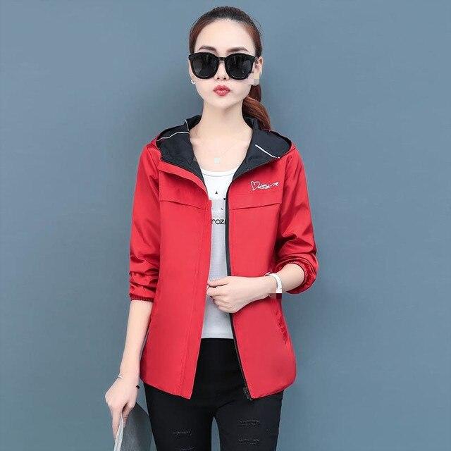 2020 printemps automne femmes veste mode à capuche deux côtés usure dessin animé impression Outwear femmes manteau ample femme coupe-vent hauts P369 3