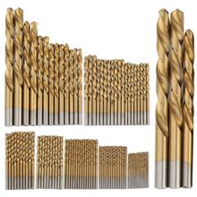 99PCS HSS Twist Drill Bits Set 1.5-10mm Titanium Coated Surface 118 Degree For Drilling Woodworking Iron Electrical