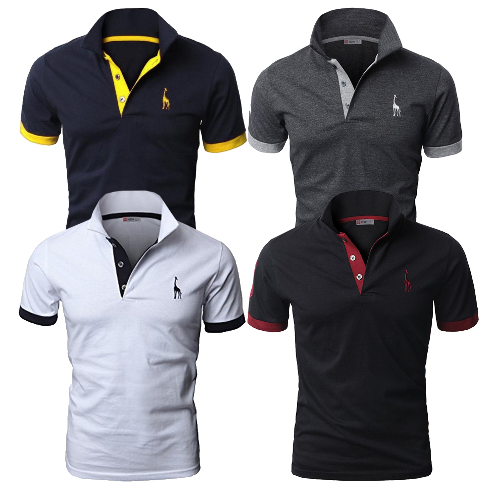 4 Pcs Set Mens Polo Solid Casual Short Sleeve Cotton Polo Shirt Men Fashion Slim Fit Polos Men US Size S-3XL