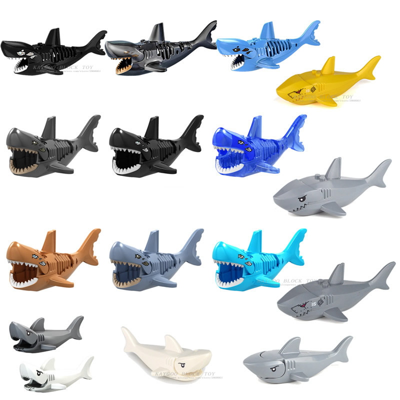 Single Sale DIY Bricks Big Shark  Dinosaurs Animal Figures Model Compatible Legoingly Building Blocks Toys For Children