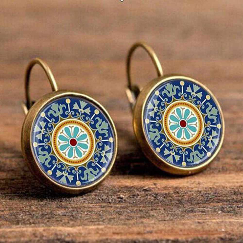Hdf9d0d765e774aa09f087ba05db783efQ - FSUNION Boho Flower Drop Earrings For Women Vintage Jewelry Geometric Pattern Round Earings Bijoux boucles d'oreilles bohemia