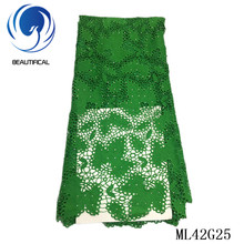 BEAUTIFICAL 2019 Lace African Hot Selling French Guipure Fabric Dresses Lace High Quality Nigerian Guipure Cord Lace ML42G25 guipure lace splicing openwork blouse